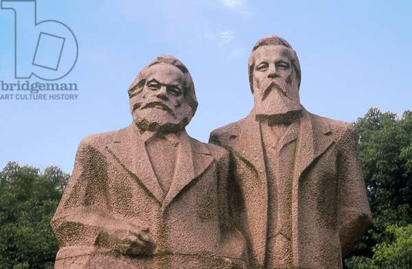 China: Karl Marx (1818 - 1883) and Friedrich Engels (1820 - 1895) statue in Fuxing Park, Shanghai