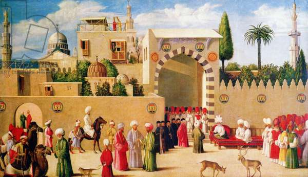 Syria: A Mamluk governor, or 'na-ib', and his retinue receive Venetian consul Niccolo Malipiero in Damascus in 1511.