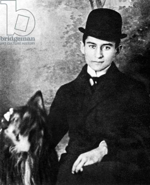 Czech Republic - Czechoslovakia: Franz Kafka, German-language author of novels and short stories (1883-1924) with pet dog, 1910