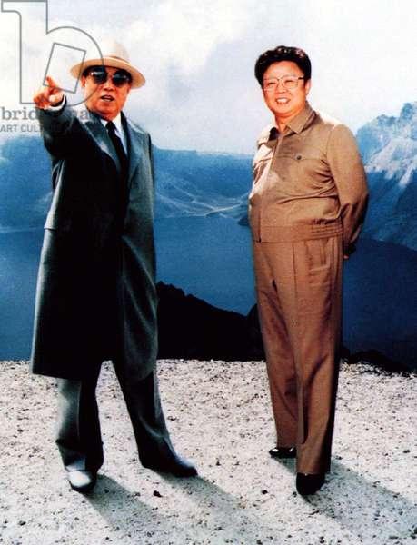 Korea: Propaganda photograph of North Korean leader Kim Il Sung together wth his heir and successor Kim Jong Il, c. 1985