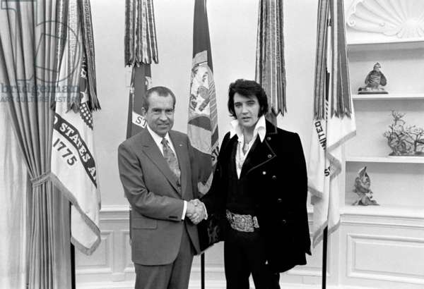 USA: President Richard Nixon shaking hands with Elvis Presley at the White House, December 21, 1970