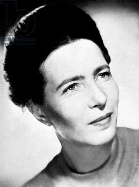 France: Feminist writer and philosopher Simone De Beauvoir (1908-1986), anonymous German photographer, c. 1950