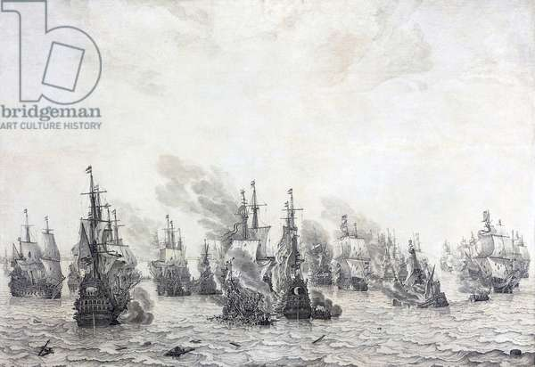 Maritime: The Battle of Livorno (1653), c.1659 (oil and ink on canvas)