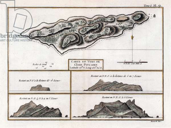 Pitcairn Islands: A French map and chart of Pitcairn Island made in 1774. The then uninhabited island was first sighted by the Portuguese in 1606 and then 'rediscovered' by the British in 1767