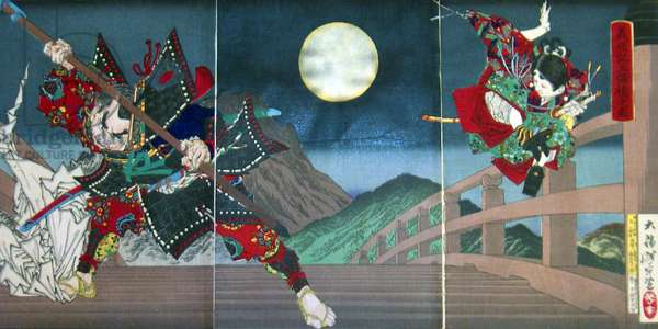 Japan: Ushikawa and Benkei duelling on Gojo Bridge. Tsukioka Yoshitoshi (1839-1892)
