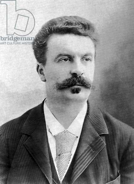 France: Guy de Maupassant (1850 - 1893), portrait by Nadar (Gaspard-Felix Tournachon, 1820 - 1910), 1888