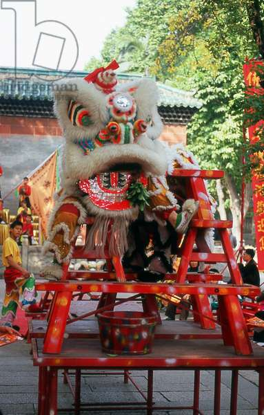 China: A Chinese New Year lion dance costume at the Zu Miao (Ancestral Temple), Foshan, Guangdong Province