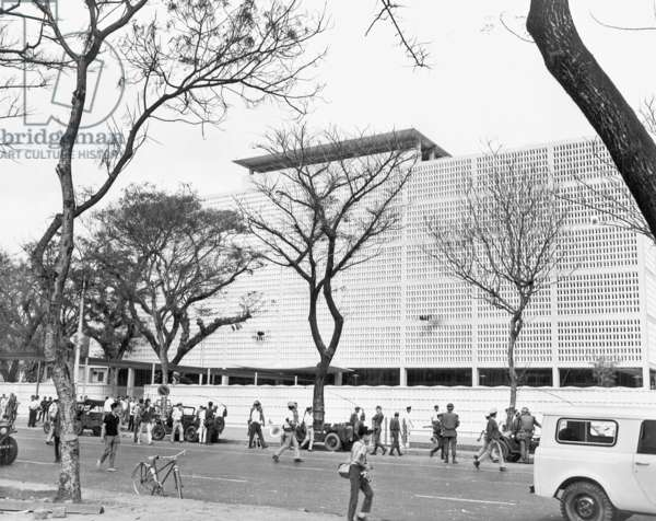 Vietnam: The US Embassy, Saigon, with RPG-2 damage to chancery wall in several places - Tet Offensive, 31 January 1968