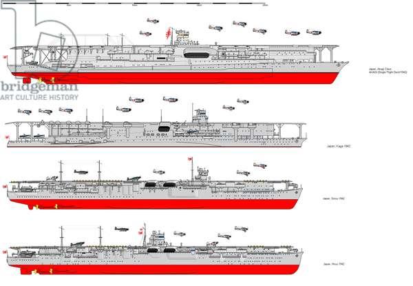 Japan: Diagram of the Imperial Japanese aircraft carriers Akagi, Kaga, Soryu and Hiryu, 1942