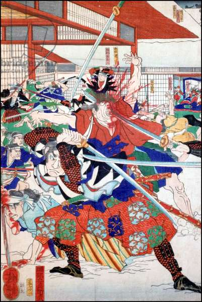 Japan: 'The Night attack of the Forty-Seven Ronin'. (Tsukioka Yoshitoshi, 1839-1892).