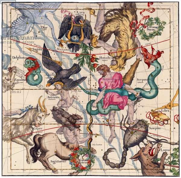 France: Constellation Map from Globi coelestis in tabulas planas redacti descriptio (Star Atlas), Ignace-Gaston Pardies, 1693