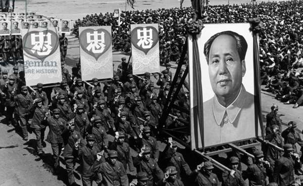 China: A scene from the Cultural Revolution (1966-1976), mass demonstration in Shenyang, 1968. The Chinese characters read 'In Our Hearts', with reference to Chairman Mao Zedong