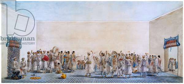 India: The Festival of Holi being celebrated in a courtyard. Anonymous watercolour, Patna, c. 1795