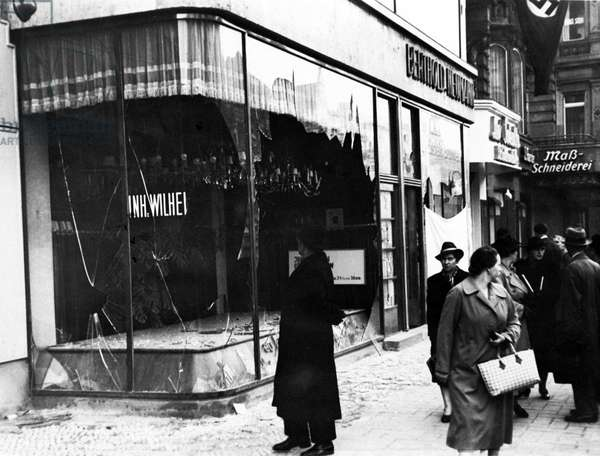 Germany: Jewish-owned shop destroyed during Kristallnacht, Berlin, November 1938. (b/w photo)