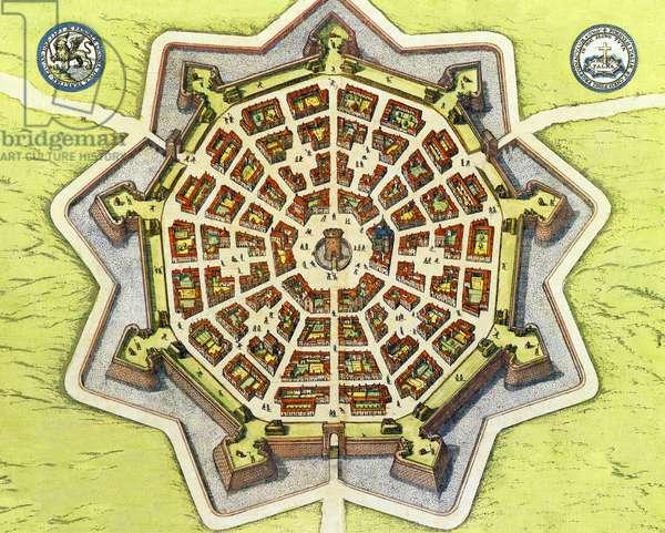 Italy: Map of the Venetian bastion fort Palmanova, from the