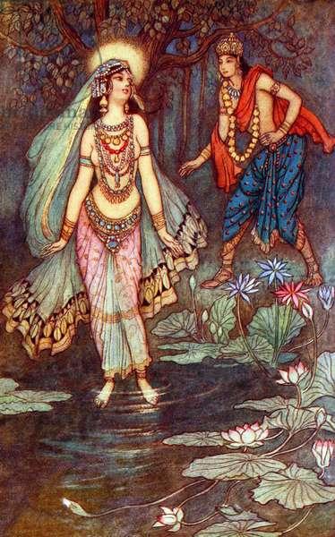 UK: 'Shantanu Meets the Goddess Ganga', Warwick Goble (1862-1943), 1912