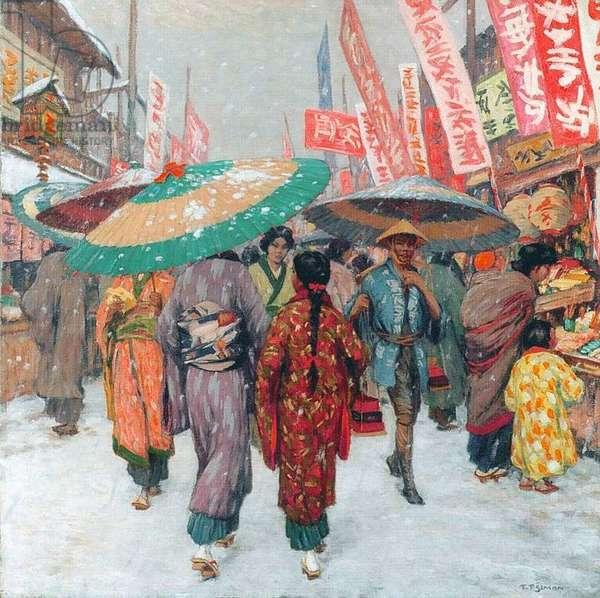 Japan: Kyoto street scene in winter c.1928