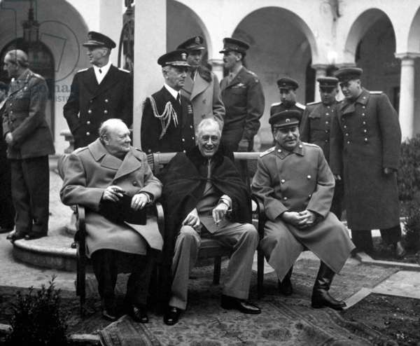 Russia / Soviet Union: Yalta Conference in February 1945 with (from left to right) Winston Churchill, Franklin D. Roosevelt and Joseph Stalin