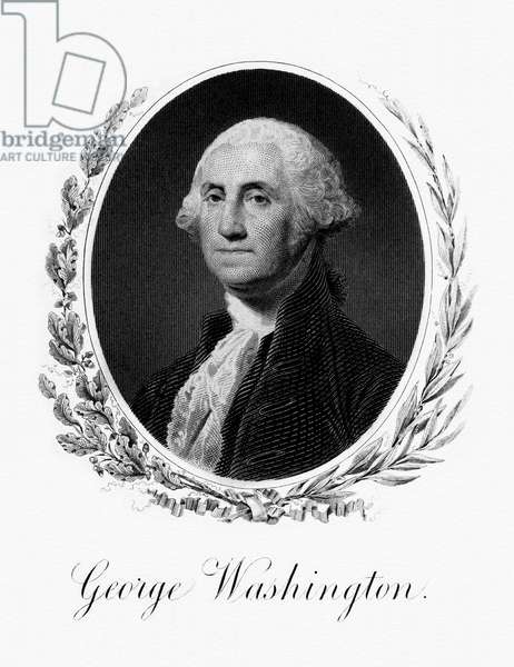 USA: George Washington (1732-1799) was the 1st President of the United States, serving from 1789-1797. Engraving, Bureau of Engraving and Printing, mid-19th century