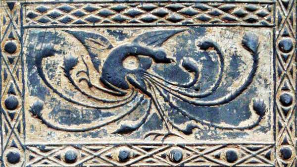China: Detail of a Han-dynasty (206 BCE–220 CE) pottery tile emblematically representing the Vermilion Bird of the South, Musee Cernuschi, Paris