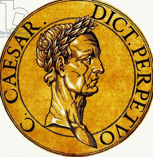 Italy: Icon of Julius Caesar (100-44 BCE), Perpetual Dictator of the Roman Republic, from the book 'Icones imperatorvm romanorvm' (Icons of Roman Emperors), Antwerp, c. 1645