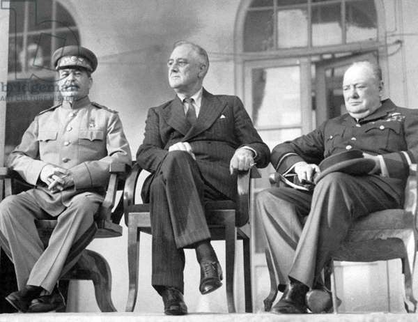 Iran / Persia: Joseph Stalin, Franklin D. Roosevelt, Winston Churchill (left to right). The 'Big Three' at the Tehran Conference, 28 November - 1 December 1943