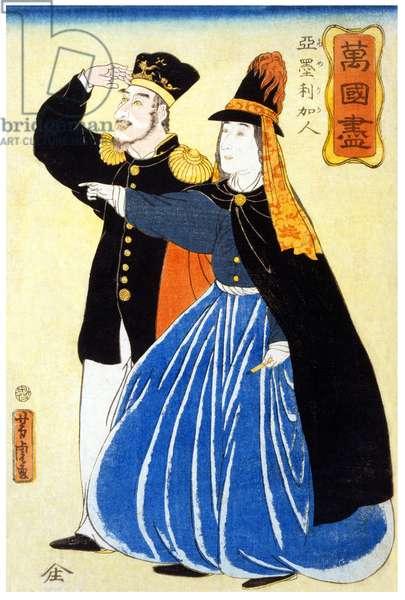 """Japan: """"Bankoku Zukushi - Amerikajin"""" (About Foreign Lands - Americans'), woodblock print, Utagawa Yoshitora (fl. 1850 - 1870), 1860"""