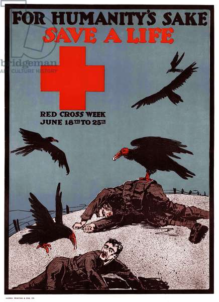 UK: 'For Humanity's Sake - Save a Life'. First World War propaganda poster, c. 1917