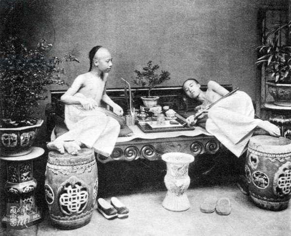 China: Opium smokers, Hong Kong, c. 1910