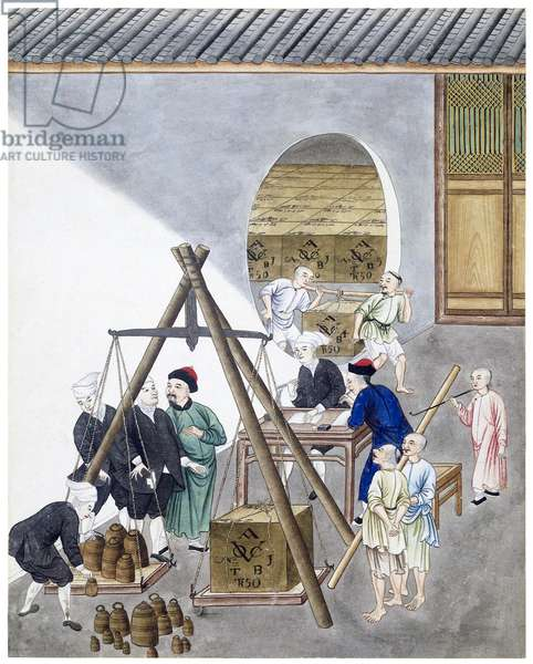 China/Netherlands: Weighing a tea chest with the VOC insignia at a trading company in Canton (Guangzhou). Part of a group of four gouaches on the production and export of Chinese tea by the VOC around 1750