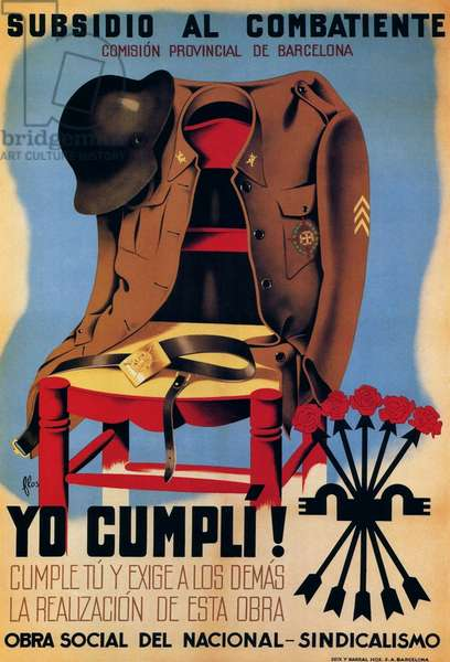 Spain: Poster appealing for funds for Nationalist veterans of the Spanish Civil War (1936-1939), 1940