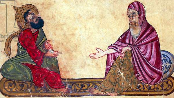 Turkey / Arabia: Two philosophers debating (to the right, possibly, Abu Yusuf al Kindi), 'The best rulings and the most precious sayings of Al-Mubashshir', 13th century CE