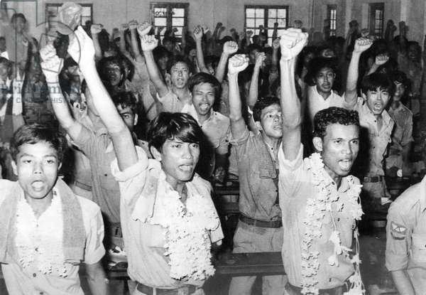 Burmese Air Force staff join demonstrations against the government, 1988 (b/w photo)