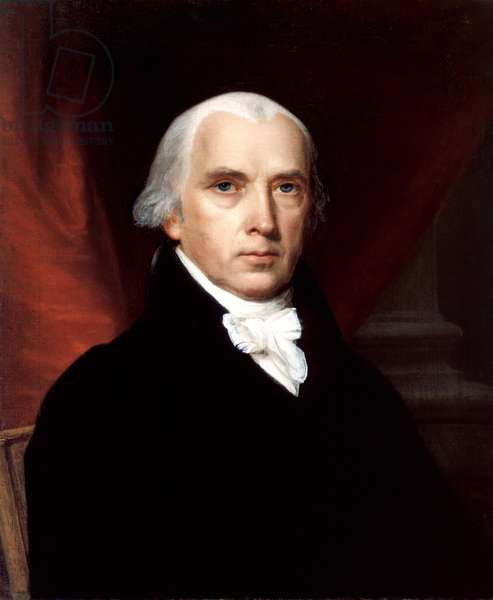 James Madison (1751 -1836) 4th President of the United States, serving from 1809 to 1817 (Oil on canvas)  1816