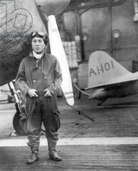 Japan: Lt. Zenji Abe, Japanese bomber pilot, preparing to attack Pearl Harbour on board the Imperial Japanese Navy aircraft carrier 'Akagi', 7  December 1941