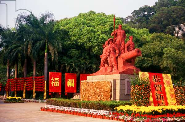 China: Monument to Chinese soldiers who fought in the First Opium War at the entrance to the Opium War Museum, Humen, Guangdong Province