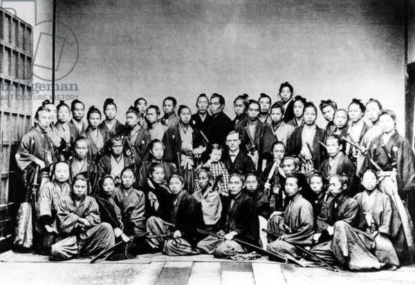 Japan: Guido Verbeck, Dutch foreign advisor to the Japanese Meiji Government c. 1862-1898, together with a group of samurai, 1868