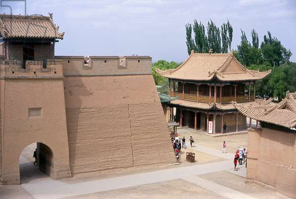 China: Wenchang Hall and fort gate, Jiayuguan Fort, Jiayuguan, Gansu