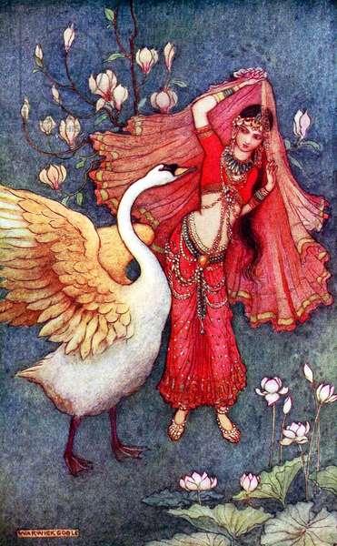 UK: 'Damayanti and the Swan', Warwick Goble (1862-1943), 1912