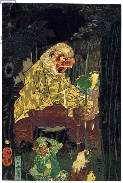 Japan: Iwami Shigetaro saving a beauty from baboons, left panel of tryptych. Tsukiokoa Yoshitoshi (1839-1892), 1886
