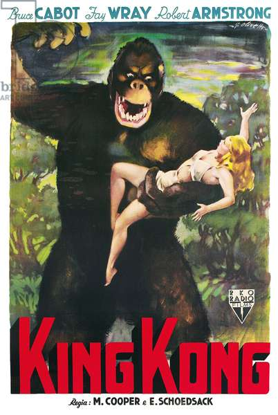 USA: Advertising poster for the movie 'King Kong' (1933) starring Fay Wray, Bruce Cabot and Robert Armstrong, poster art by Rene Carron 1933