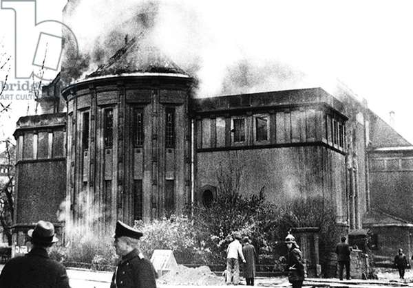 Germany: The synagogue in Bamberg, Germany, was one of more than 1,000 synagogues destroyed on the night of Nov. 9-10 (Kristallnacht), 1938 (b/w photo)