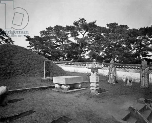 Korea: Kija's tomb, Pyongyang, North Korea, early 20th century. Sage Kija is mentioned in Chinese sacred writings and is venerated as the founder of Korean civilization. Kija came to Korea in 1122 BCE