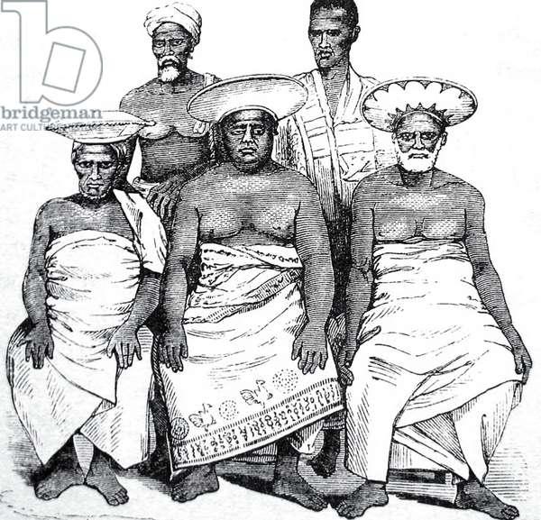 Sri Lanka: Three Radala or Kandyan aristocracy together with two retainers, 1859.