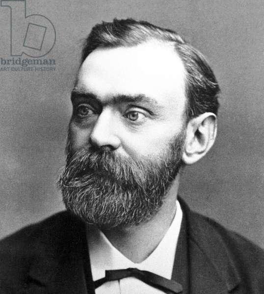 Sweden: Alfred Bernhard Nobel (1833 - 1896), chemist, engineer, inventor, businessman and philanthropist. Photographic portrait, late 19th Century