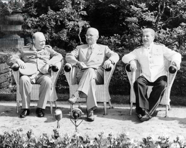 Germany: Winston Churchill, Harry S. Truman, Joseph Stalin (left to right) at the Potsdam Conference (Potsdamer Konferenz), 28 November - 1 December 1943
