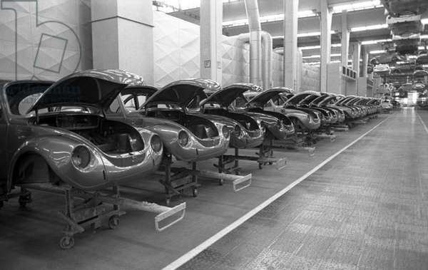 Germany: Chassis assembly line, Volkswagen Auto Works, Wolfsburg, 1973