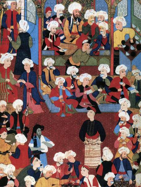 Turkey: A 16th century miniature of a lively Ottoman coffee house.