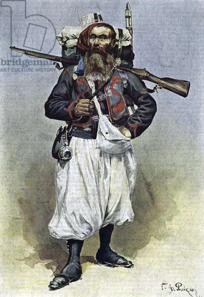 France: A French zouave soldier from 1888 wearing white summer trousers instead of the usual red.