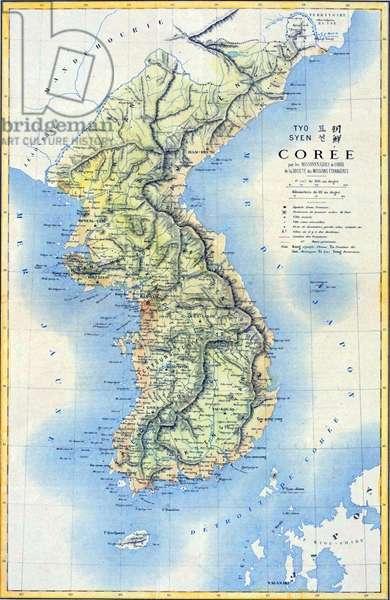 Korea: 19th century French map of the Korean Peninsula